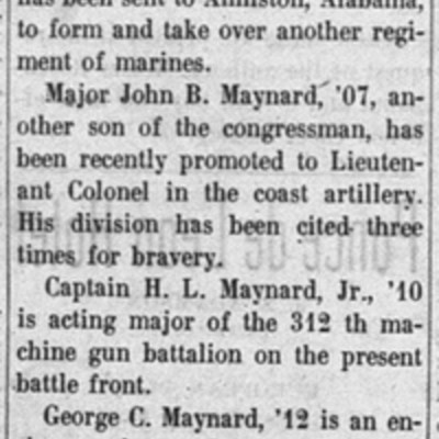 Maynard Brothers article fromThe Virginia Tech,17 October 1918