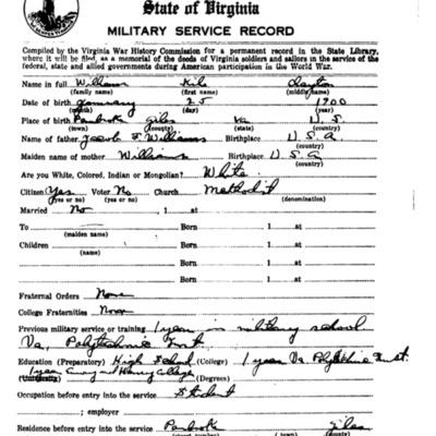Kile Clayton Williams WW1 Questionairre - VPI Class of 1920- pg 1.tif