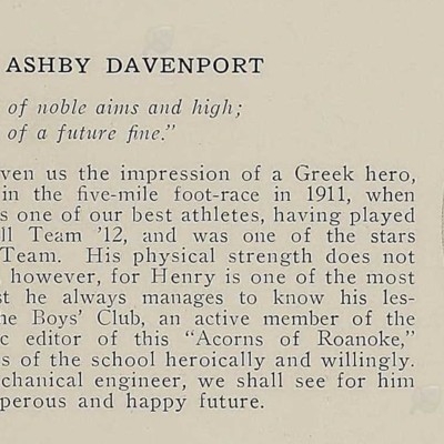 Henry Ashby Davenport from the 1913 Roanoke High School yearbook.jpg