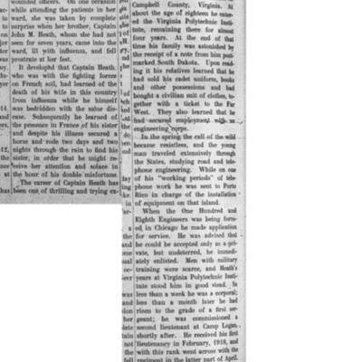 Article about John Heath in The Virginia Tech newspaper, 17 April 1919.jpg