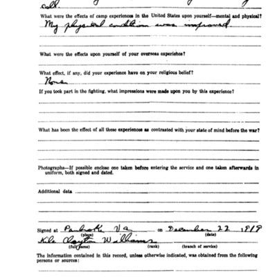 Kile Clayton Williams WW1 Questionairre - VPI Class of 1920- pg 3.tif