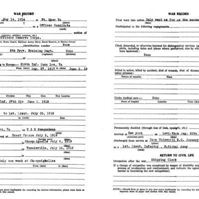 James Malcom Wood WW1 Questionairre - VPI Class of 1917 - pg 2.tif