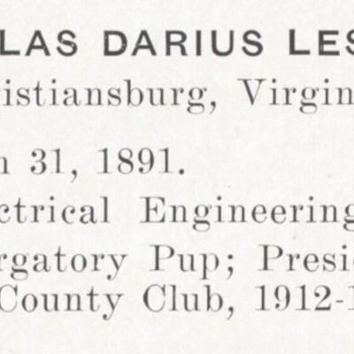 Douglas Darius Lester biography from the 1913 VPI Bugle.jpg