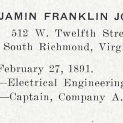 Benjamin Franklin Johnson biography from the 1913 VPI Bugle.jpg