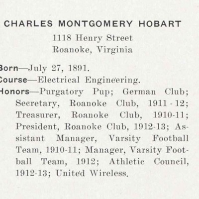 Charles Montgomery Hobart biography from the 1913 VPI Bugle.jpg