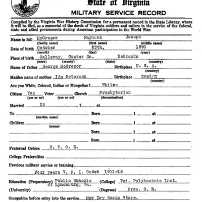 Raymond Joseph McGregor WW1 Questionairre - VPI Class of 1915 - pg 1.tif