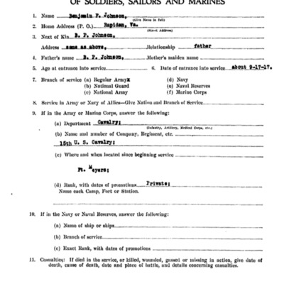 Benjain Franklin Johnson WW1 Questionairre - VPI Class of 1913 - pg 1.tif