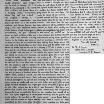 Letter from Withrow Reynolds Legge published in The Virginia Tech, 16 January 1919.jpg