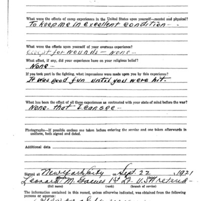 Leonard Myrton Gaines WW1 Questionairre - VPI Class of 1917 - pg 4.tif