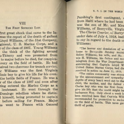 """""""First Supreme Loss"""", chapter about Major Williams' wartime service and death from Virginia Polytechnic Institute in the World War, published in 1927"""